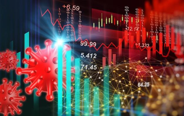 コロナウイルスまたはcovid19危機による株式市場と世界経済グラフの分析の背景 Premium写真