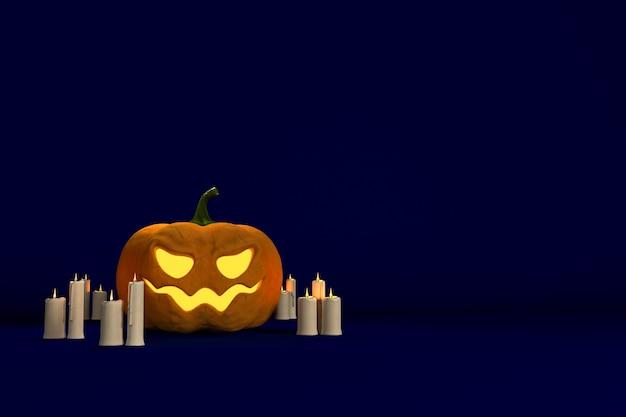 Фон для графического дизайна на праздник хэллоуин с тыквой и свечами