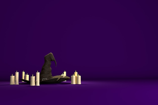Фон для графического дизайна на праздник хэллоуина со шляпой ведьмы и свечами