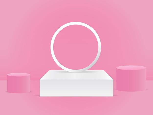 製品の背景空の表彰台スタジオ3dベクトルレンダリングモダンでエレガントなベビーピンク色