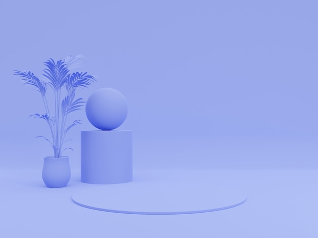 Фон для презентации продукта, для иллюстрации журнала мод. дерево, геометрические, пастель синий монохромный минимальный 3d рендер иллюстрация