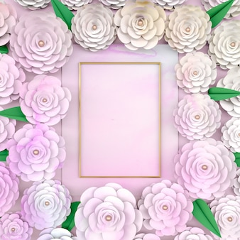 Background frame with blooming rose flower.