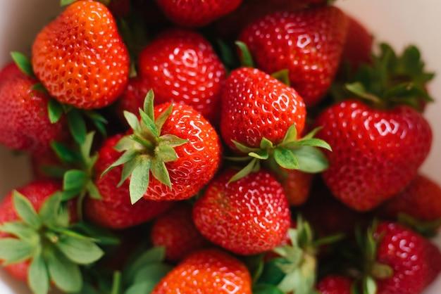 Background of fresh organic strawberries