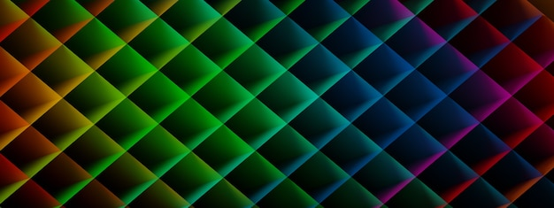 Background from colored rhombuses, geometric shapes, 3d render, panoramic image
