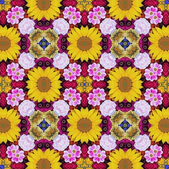 Background from flowers for packing paper, napkins, covers, cloth. effect of a kaleidoscope.