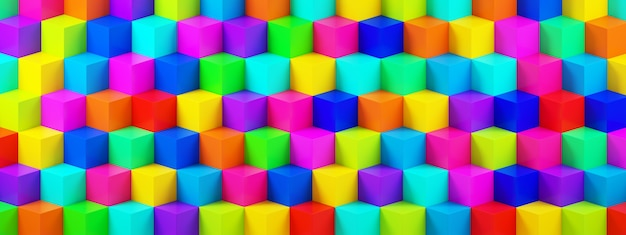 Background from multicolor 3d cubes, geometric background, 3d rendering, panoramic image