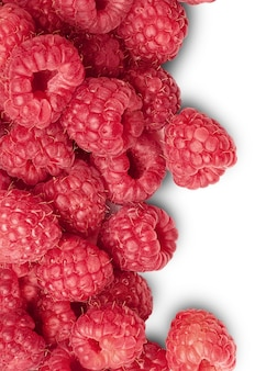 Background from ripe raspberry. isolated. over white