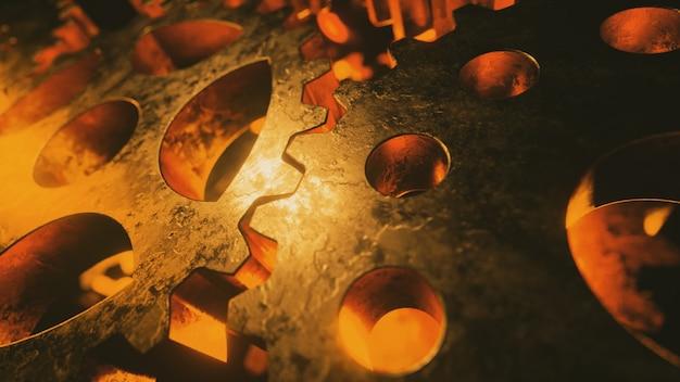 回転する金の金属メカニズムの背景。ビジネスワークフローの概念。
