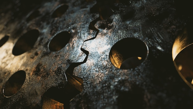 金属機構の回転からの背景。ビジネスワークフローの概念。