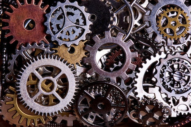 Background from various gears close-up.