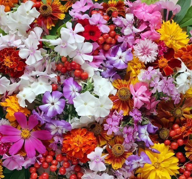 Background of garden flowers, top view.