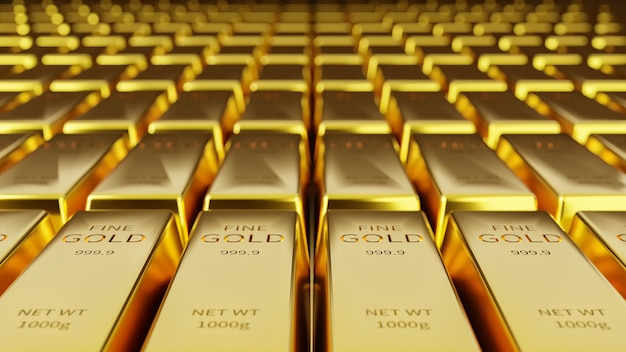 Background of gold bars in gold storage and financial and economic concepts.