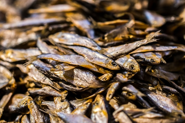 Background of  golden  smoke-dried  fish close up.