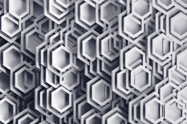 Background in gray colors with abstract randomly arraged hexagonal shapes and frames.