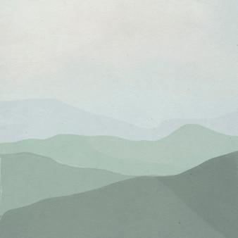 Sfondo dell'illustrazione del paesaggio della catena montuosa verde