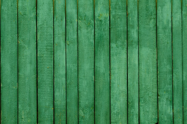 Background of green wooden boards