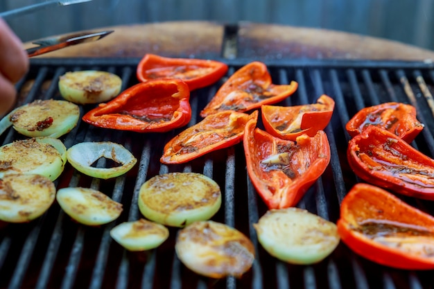 Background of grilled vegetables on a grill