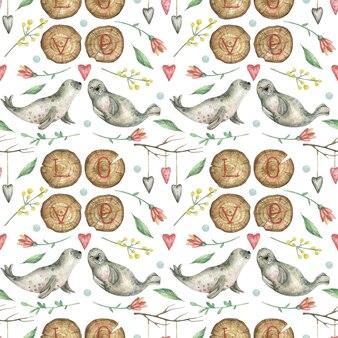 Фон, нарисованный вручную на тему дня святого валентина с деревянной надписью love, морскими котиками, цветами и сердечками