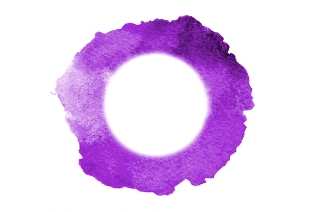Background image of abstract watercolor spots forming a random shape of violet color with a round space for text