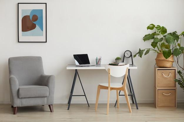 Фоновое изображение минимального интерьера с рабочим местом домашнего офиса, копией пространства