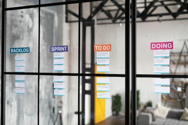 Фоновое изображение списков задач или доски канбан для бизнес-планирования на стеклянной стене в графическом интерьере офиса, пространство для копирования