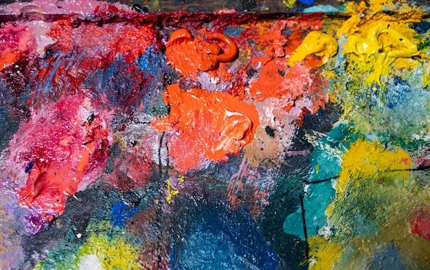 Background image of oil-paint palette. closeup