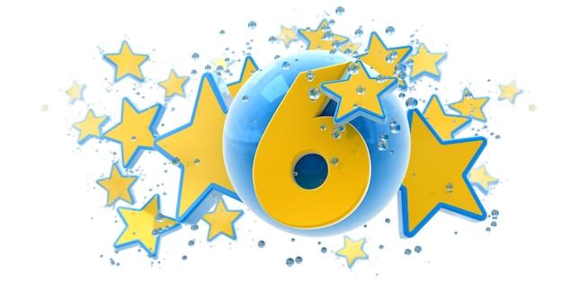 Фон в синих и желтых тонах со звездами, каплями и сферами