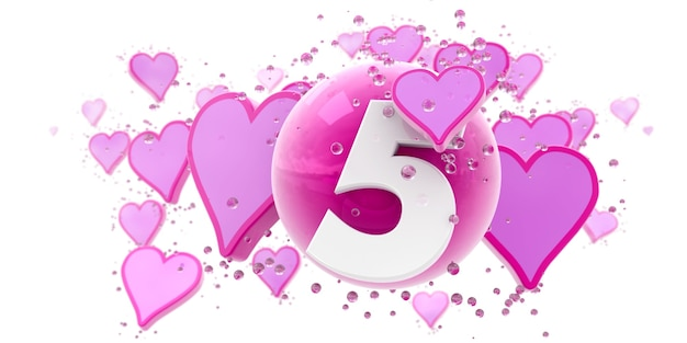 ハートと球と数字の5のピンク色の背景