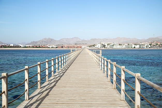 The background is a beautiful long wooden pier among the ocean and mountains.
