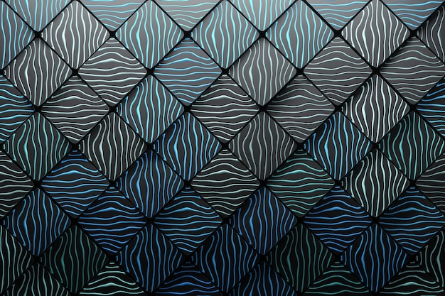 Background made of polygonal squares with waves grooves