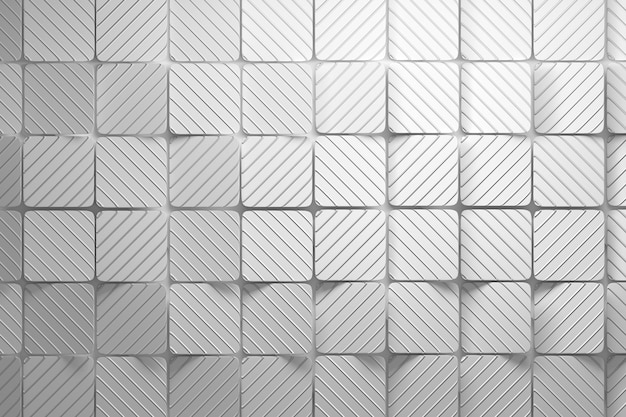 Background made of white squares with wavy grooves