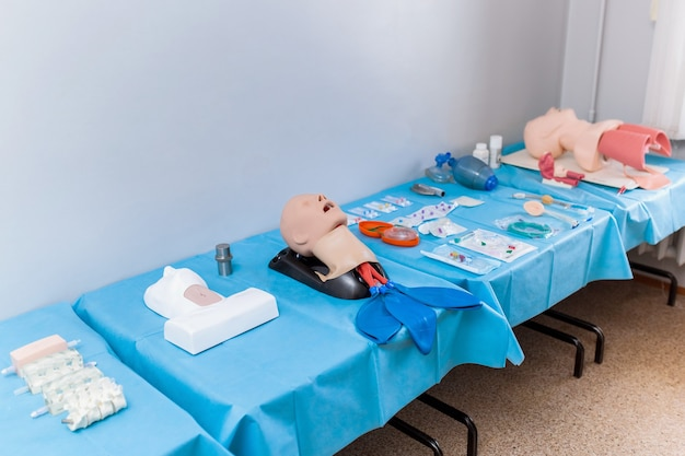 Background medical mannequins, head for practice tracheotomy. museum in the university