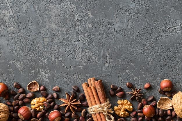 Background of mixed nuts.  hazelnuts, walnuts, cedar