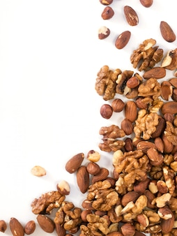 Background of mixed nuts with copy space vertical