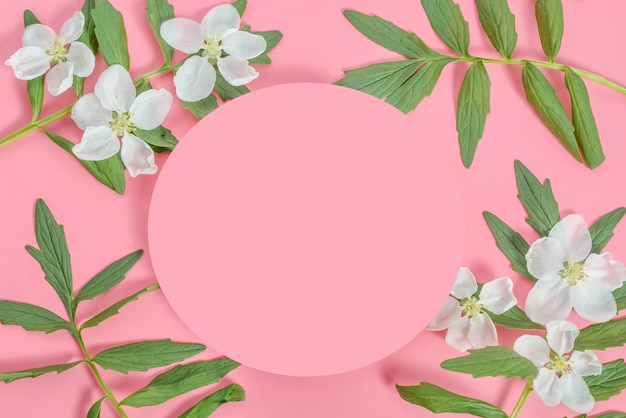 Background mock up greeting card, place for an inscription in the form of a pink circle with a frame of flowers and leaves on a pink background