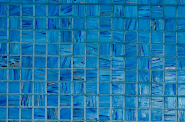 Background of mosaic wall in blue color