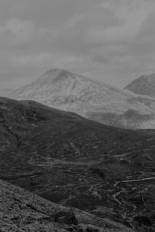 Background of mountains in black and white