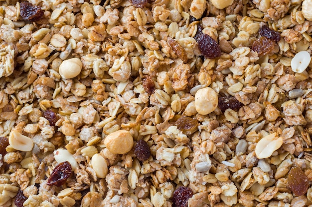 Background of muesli breakfast with oat flakes raisins
