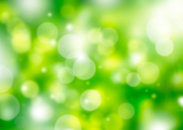Фон природа, размытый зеленый с желтым боке весенний фон