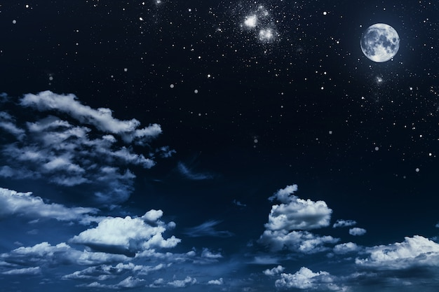 Background night sky with stars and moon