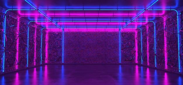 벽돌 벽과 네온 불빛이있는 빈 방의 배경. 벽돌 벽, 콘크리트 바닥. 네온 광선과 빛. 프리미엄 사진
