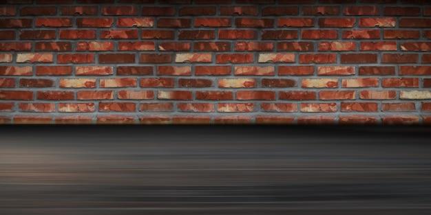 오래 된 벽돌 벽 콘크리트 포장 연기 안개의 배경 빈 도시 벽 배경 프리미엄 사진