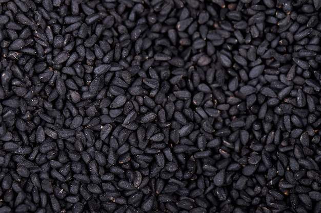 黒い種子のトップビューの背景