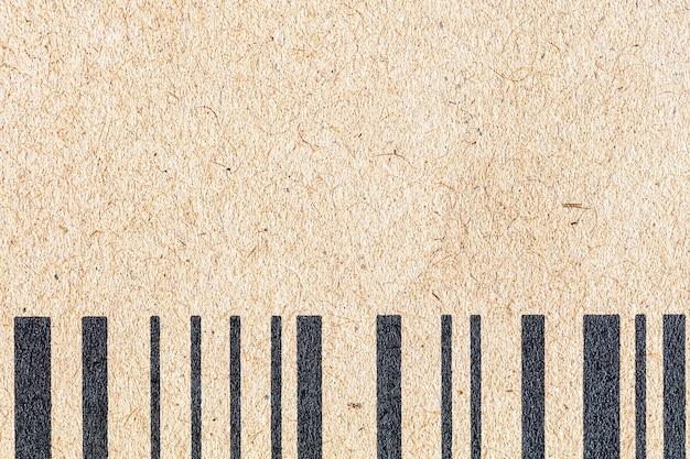 바코드가있는 갈색 공예 종이의 배경, 손실, 복사 공간
