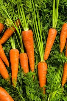 Фон из моркови и зеленых листьев