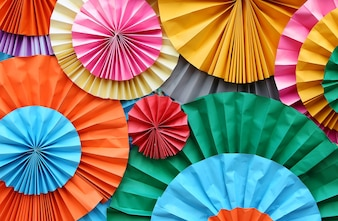 Background of colorful paper fan