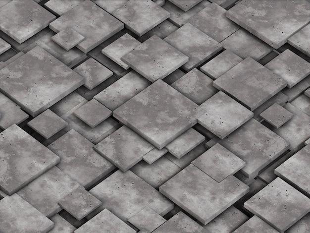 Фон из бетонных квадратных блоков. 3d рендеринг.