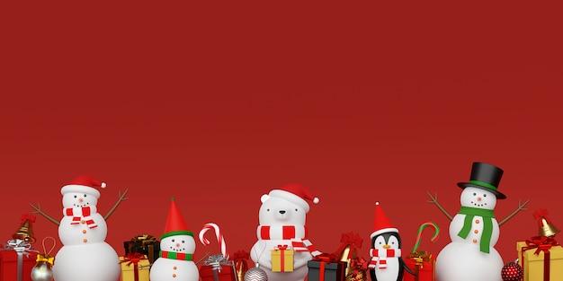 かわいいクリスマスキャラクターの背景