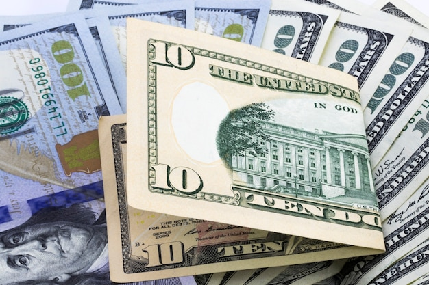 Фон долларовых купюр, деньги из долларов сша