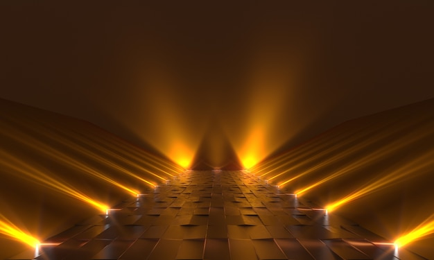 Фон пустой темный подиум с желтыми огнями. 3d рендеринг